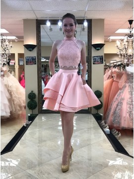 Two Piece High Neck Above-Knee Pink Homecoming Dress with Lace Pockets