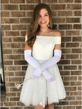 A-Line Off-the-Shoulder Short Sleeves White Homecoming Party Dress