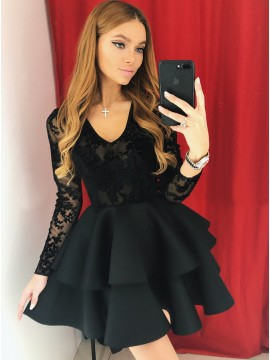 A-Line V-Neck Long Sleeves Short Black Tiered Homecoming Dress with Appliques