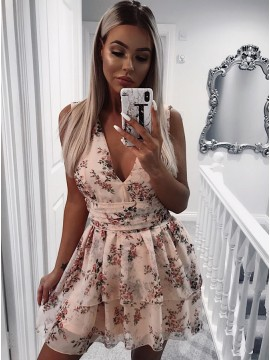 A-Line V-Neck Above-Knee Champagne Floral Chiffon Homecoming Dress