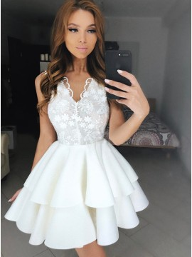 A-Line V-Neck Above-Knee White Tiered Homecoming Dress with Appliques