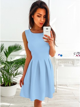 A-Line Round Neck Above-Knee Light Blue Homecoming Dress with Pleats