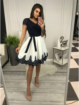 A-Line V-Neck Short Sleeves Above-Knee White Homecoming Dress with Appliques