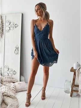A-Line Spaghetti Straps Short Navy Blue Homecoming Dress Lace Party Dress