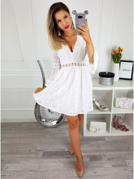 A-Line V-Neck Bell Sleeves Above-Knee White Lace Homecoming Dress