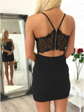 Sheath Spaghetti Straps Open Back Short Black Homecoming Cocktail Dress with Lace