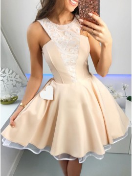 A-Line Crew Above-Knee Champagne Homecoming Party Dress with Appliques