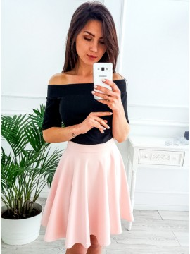 A-Line Off-the-Shoulder Half Sleeves Above-Knee Pink Homecoming Dress