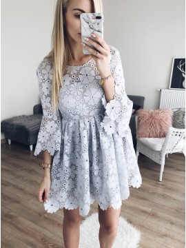 A-Line Round Neck Bell Sleeves Short Grey Lace Homecoming Party Dress