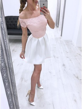 A-Line Off-the-Shoulder Short White Homecoming Party Dress with Lace