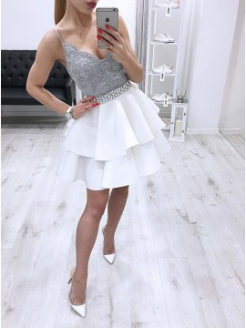A-Line Spaghetti Straps Short White Tiered Homecoming Party Dress with Appliques Beading