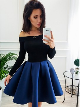 A-Line Off-the-Shoulder Long Sleeves Above-Knee Royal Blue Homecoming Dress