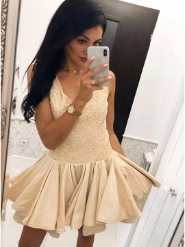 A-Line V-Neck Short Champagne Homecoming Party Dress with Appliques