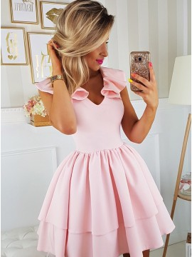 A-Line V-Neck Cap Sleeves Above-Knee Pink Tiered Homecoming Party Dress