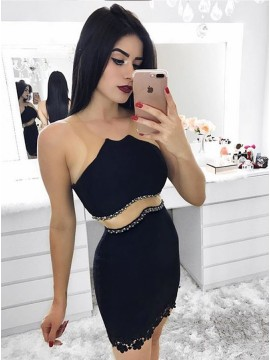 Sheath Crew Short Black Homecoming Cocktail Dress with Lace Beading