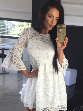 2d3975eca9f A-Line Crew Bell Sleeves Short White Lace Homecomi.