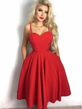 A-Line Spaghetti Straps Mid-Calf Red Homecoming Party Dress with Pockets
