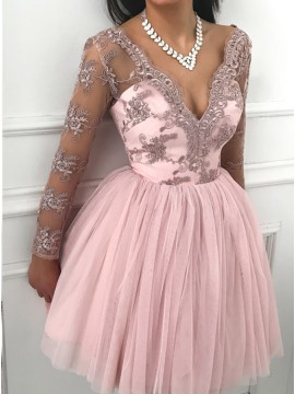 A-Line V-Neck Long Sleeves Short Pink Homecoming Party Dress with Appliques
