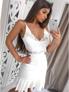 A-Line Spaghetti Straps Backless Short White Cut Out Homecoming Dress with Lace