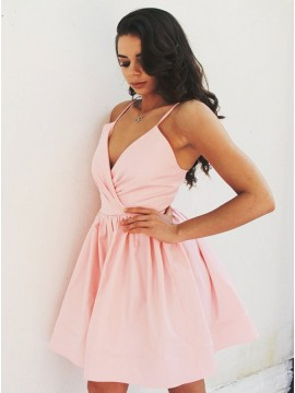 A-Line Spaghetti Straps Short Pink Homecoming Party Dress with Ruched