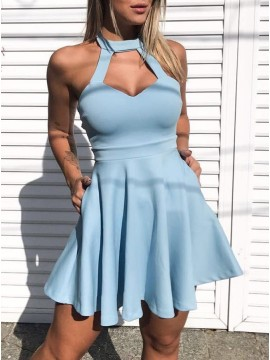 A-Line Crew Short Light Blue Keyhole Homecoming Party Dress with Pockets