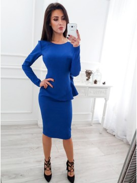 Sheath Round Neck Backless Long Sleeves Knee-Length Royal Blue Cocktail Dress