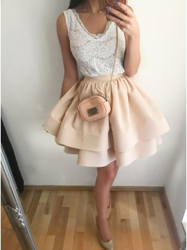 A-Line V-Neck Above-Knee Beige Tiered Homecoming Party Dress with Lace