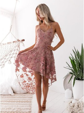 A-Line Spaghetti Straps Blush High Low Homecoming Dress with Embroidery