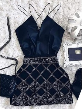 Sheath Spaghetti Straps Short Dark Blue Homecoming Dress with Beading