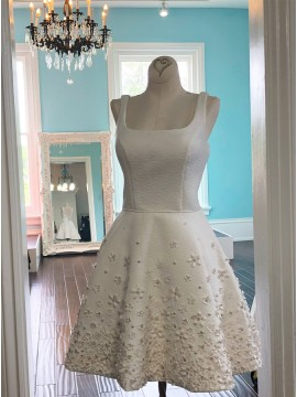 A-Line Square Above-Knee White Homecoming Dress with Appliques Beading