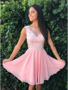 A-Line Crew Open Back Above-Knee Pink Homecoming Dress with Appliques Beading