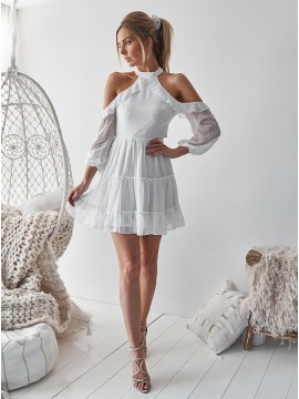 A-Line Halter Cold Shoulder Open Back White Chiffon Homecoming Dress