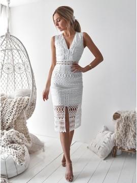 Sheath V-Neck Mid-Calf White Lace Cocktail Dress Short Homecoming Dress