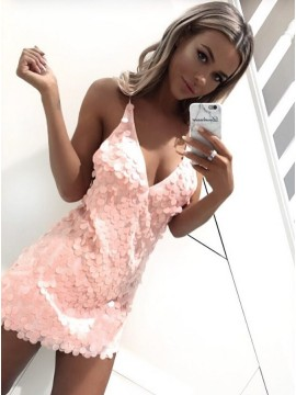 Sheath Spaghetti Straps Backless Short Pink Sequined Homecoming Cocktail Dress