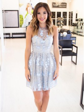 A-Line Crew Above-Knee Light Blue Lace Homecoming Dress