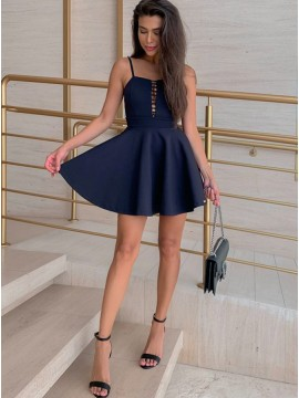 A-Line Spaghetti Straps Short Navy Blue Homecoming Dress