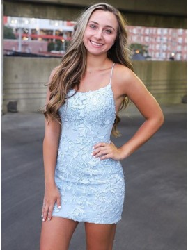 Spaghetti Straps Light Blue Tight Short Homecoming Dress With Appliques