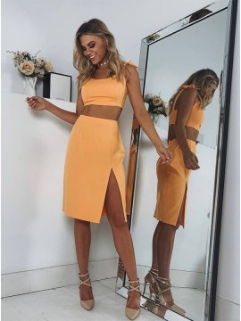 Two Piece Straps Short Yellow Homecoming Dress with Split