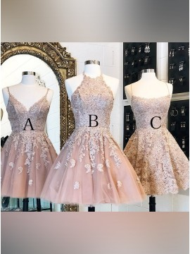Spaghetti Straps Short Champagne Homecoming Dress with Appliques