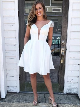 A-Line V-Neck Satin White Homecoming Dress with Cap Sleeves