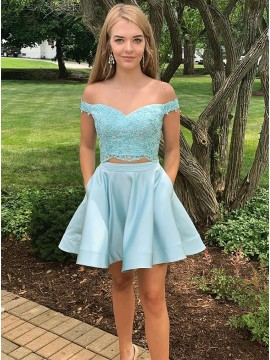Two Piece Off-the-Shoulder Blue Homecoming Dress with Appliques