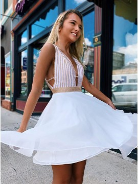 A-Line V-Neck Short White Homecoming with Beading Party Dress