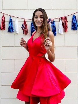 V-Neck Open Back Short Homecoming Dress with Tiered Red Party Dress