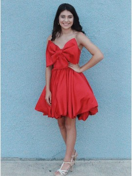 Strapless Short Homecoming Dress with Bowknot Red Party Dress