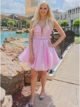 A-Line Short V-Neck Backless Pink Homecoming Dress with Beading
