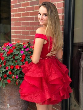 A-Line Off-the-Shoulder Red Short Homecoming Dress with Beading