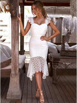 Sweetheart Symmetrical Mermaid White Lace Dress