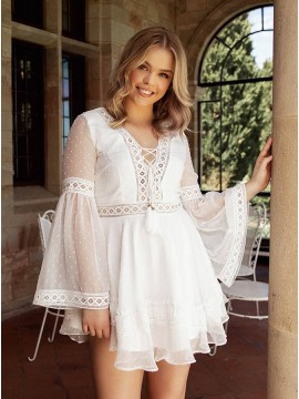 Bohemian White Sheer Bell Sleeves Dress