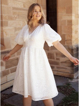 Simple White Lace Short Dress with Elasticised Sleeves