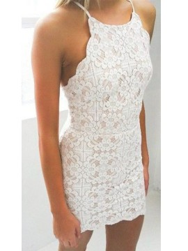 Chic Sleeveless Halter Short Lace Homecoming Dress White Cocktail Dress